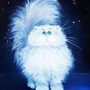 """Картина маслом """"Белый кот"""""""